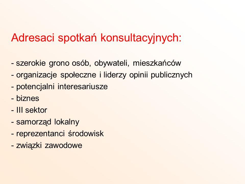 Adresaci spotkań konsultacyjnych: