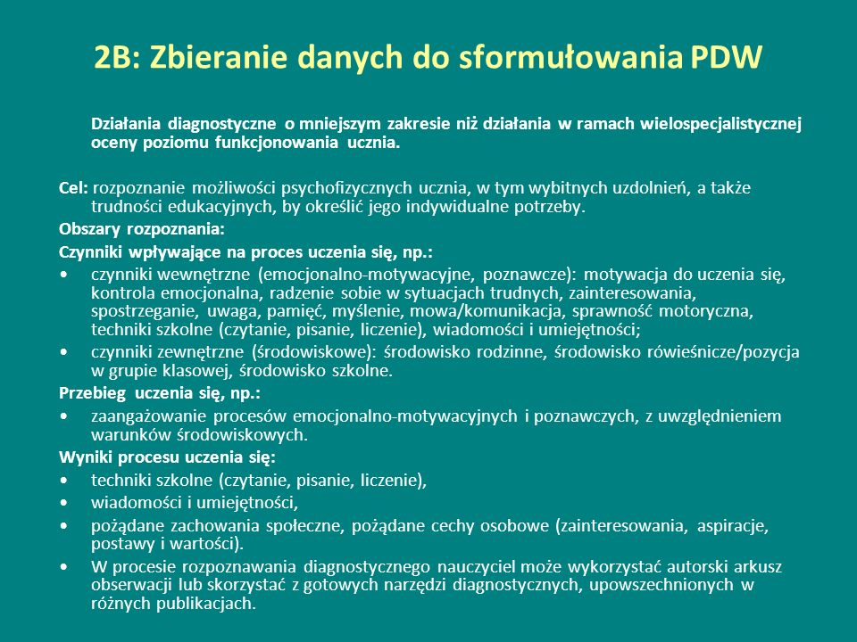 2B: Zbieranie danych do sformułowania PDW
