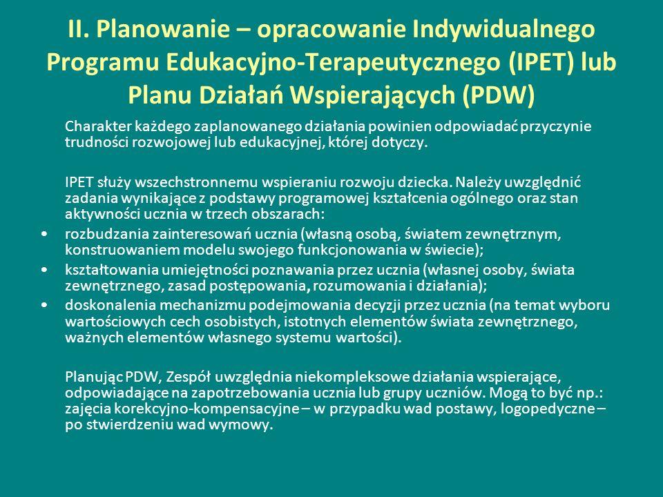 II. Planowanie – opracowanie Indywidualnego Programu Edukacyjno-Terapeutycznego (IPET) lub Planu Działań Wspierających (PDW)