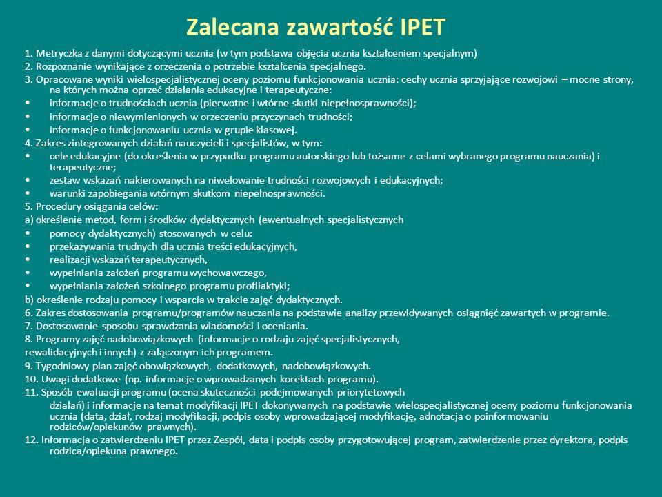Zalecana zawartość IPET