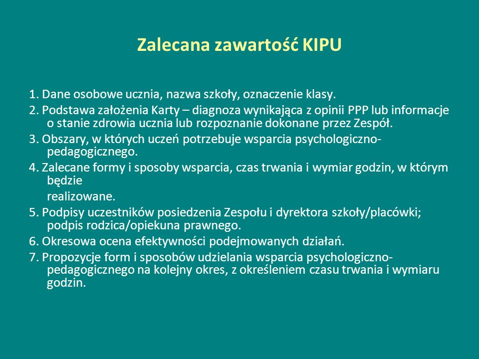 Zalecana zawartość KIPU