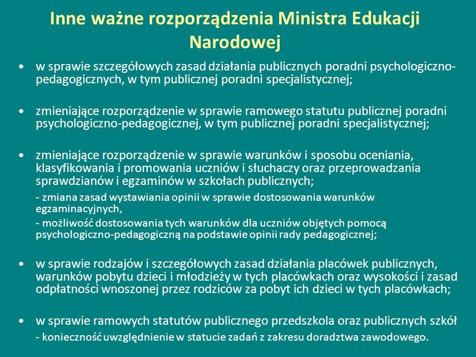 Inne ważne rozporządzenia Ministra Edukacji Narodowej