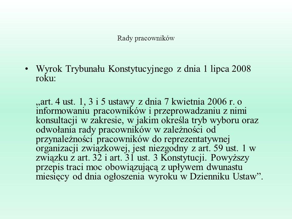 Wyrok Trybunału Konstytucyjnego z dnia 1 lipca 2008 roku: