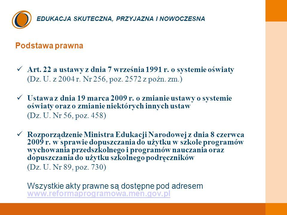 Podstawa prawna Art. 22 a ustawy z dnia 7 września 1991 r. o systemie oświaty. (Dz. U. z 2004 r. Nr 256, poz. 2572 z poźn. zm.)