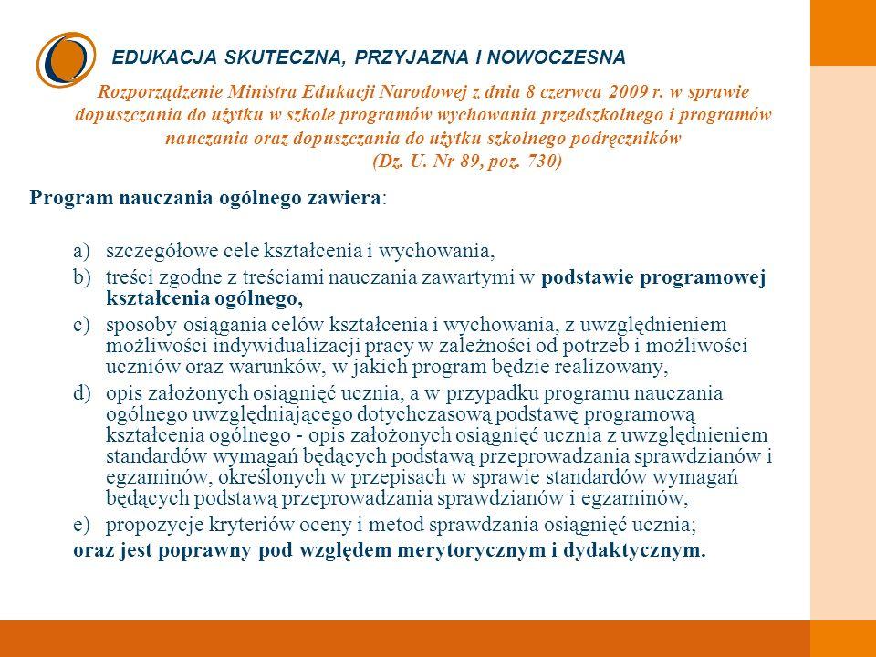 Program nauczania ogólnego zawiera:
