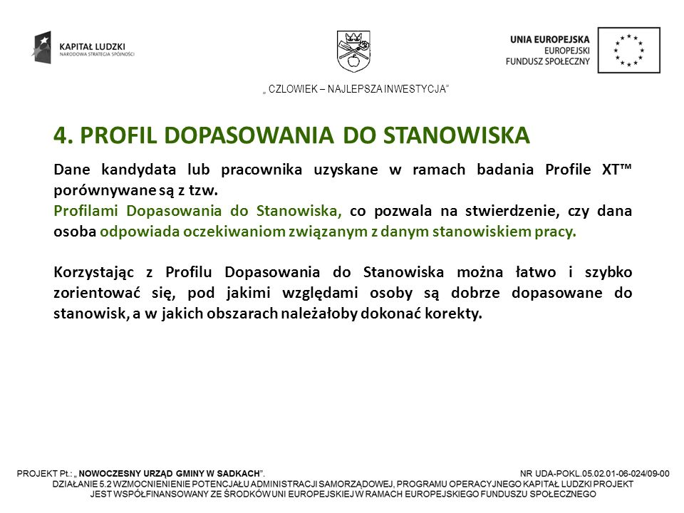 4. PROFIL DOPASOWANIA DO STANOWISKA