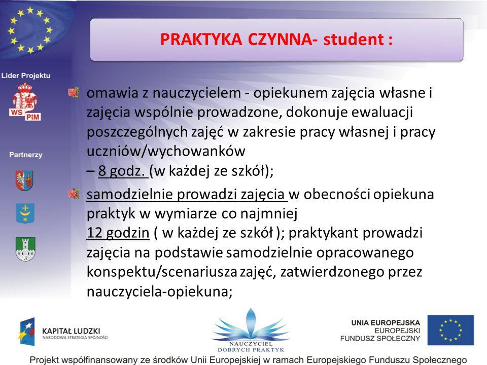 PRAKTYKA CZYNNA- student :