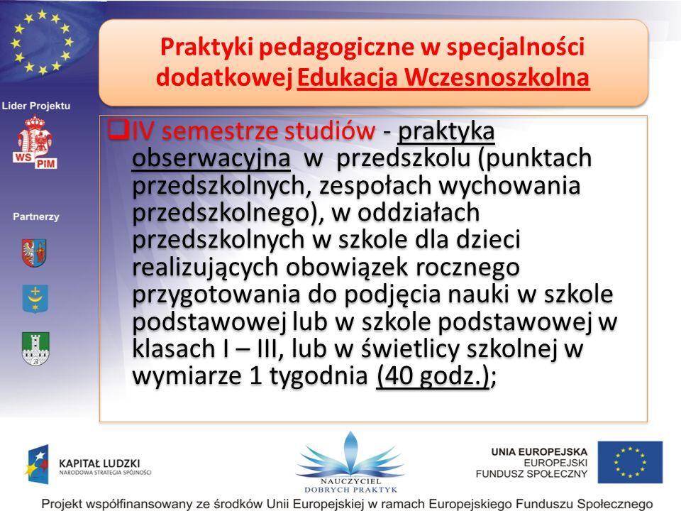 Praktyki pedagogiczne w specjalności dodatkowej Edukacja Wczesnoszkolna