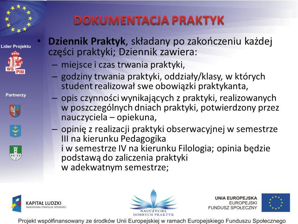DOKUMENTACJA PRAKTYK Dziennik Praktyk, składany po zakończeniu każdej części praktyki; Dziennik zawiera: