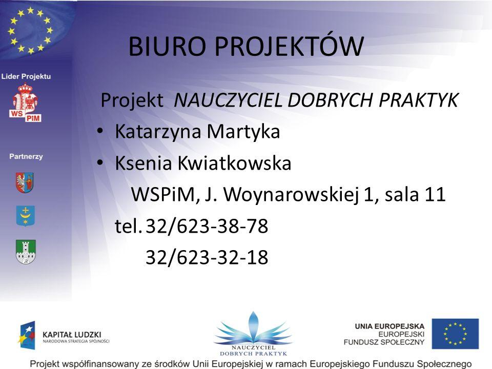 BIURO PROJEKTÓW Projekt NAUCZYCIEL DOBRYCH PRAKTYK Katarzyna Martyka