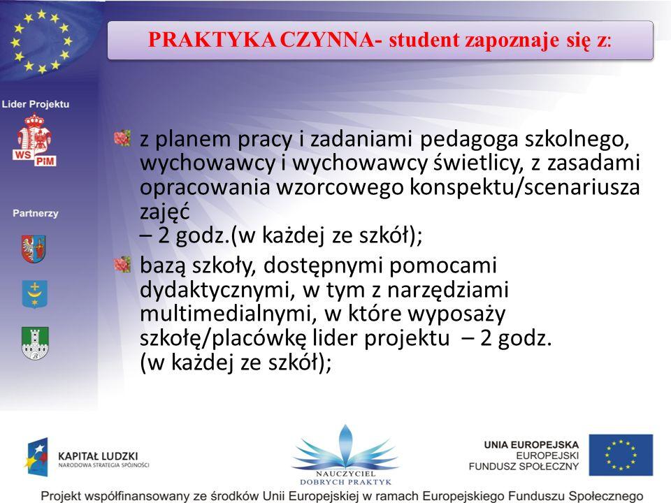 PRAKTYKA CZYNNA- student zapoznaje się z: