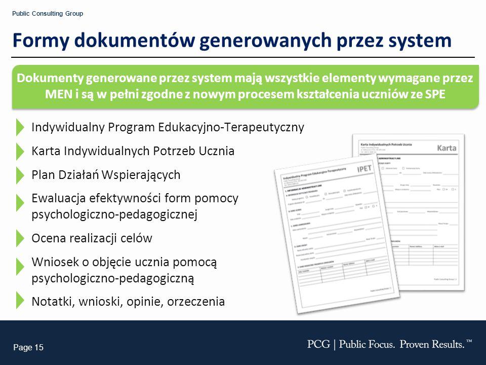 Formy dokumentów generowanych przez system