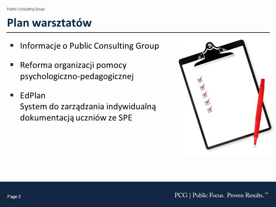 Plan warsztatów Informacje o Public Consulting Group