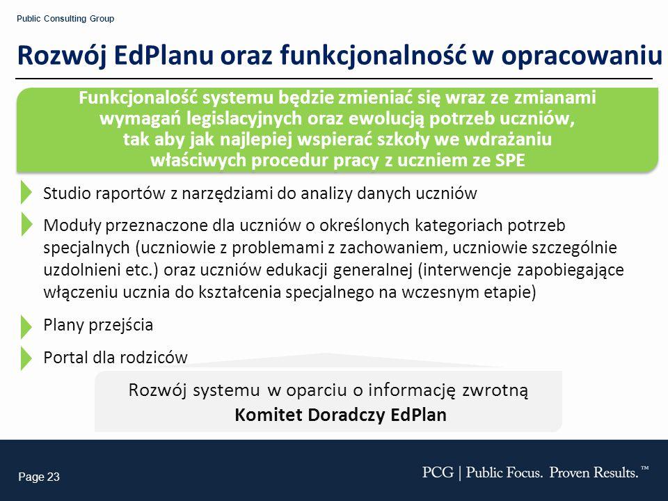 Rozwój systemu w oparciu o informację zwrotną Komitet Doradczy EdPlan