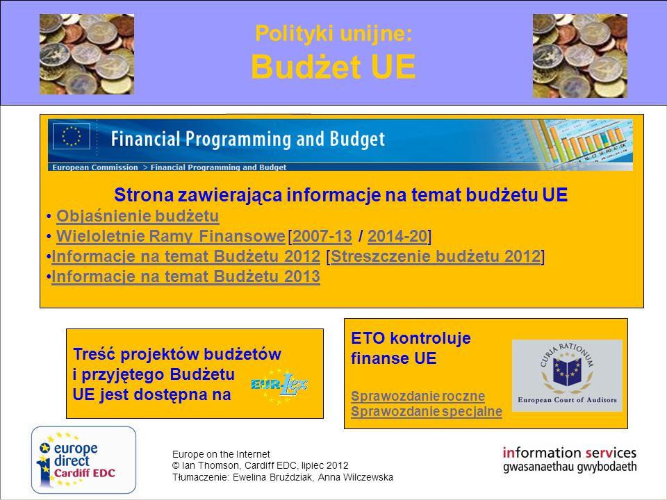 Strona zawierająca informacje na temat budżetu UE
