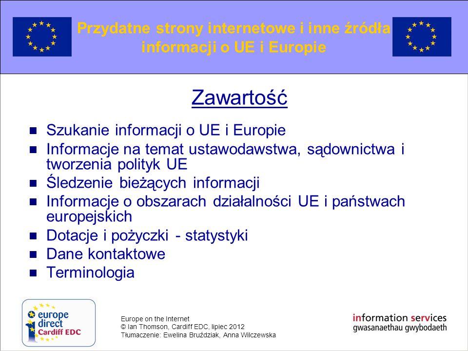 Przydatne strony internetowe i inne źródła informacji o UE i Europie