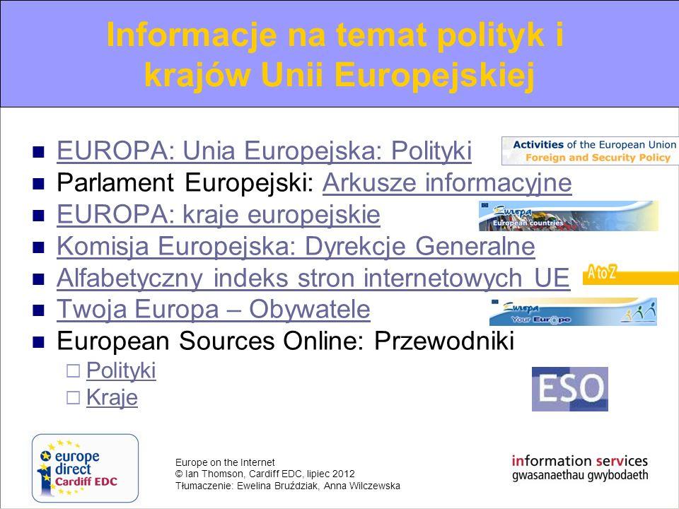Informacje na temat polityk i krajów Unii Europejskiej