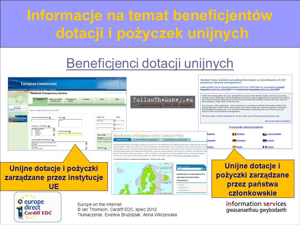 Informacje na temat beneficjentów dotacji i pożyczek unijnych