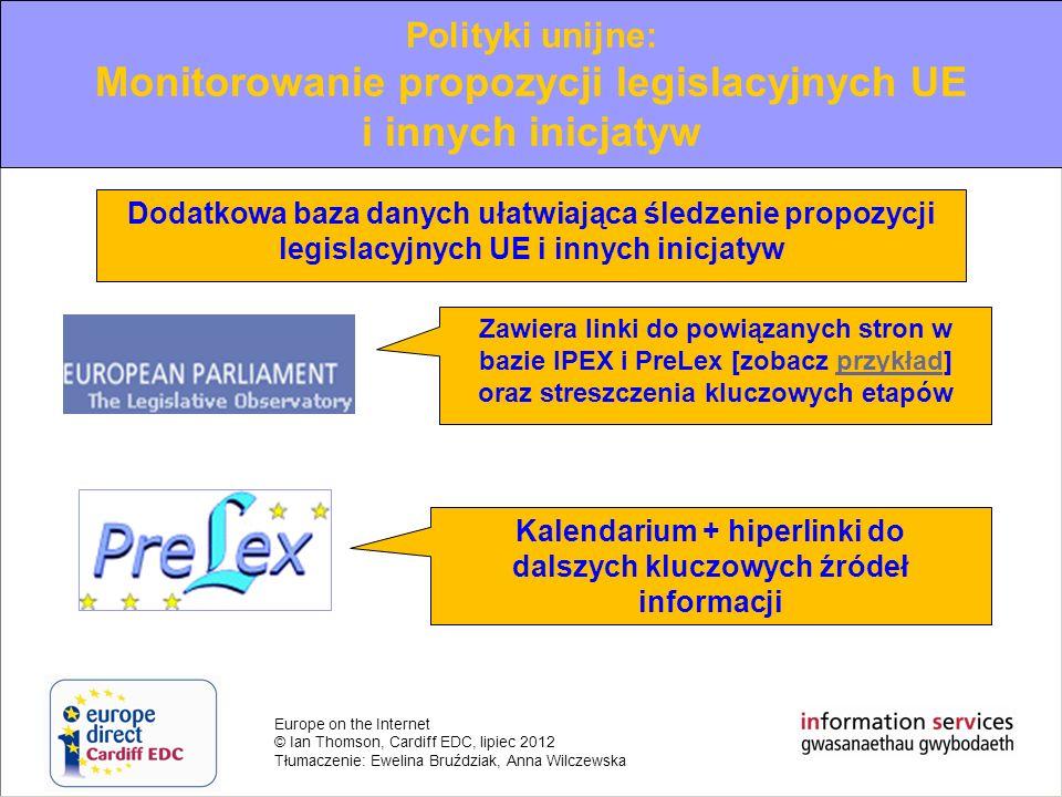 Monitorowanie propozycji legislacyjnych UE i innych inicjatyw