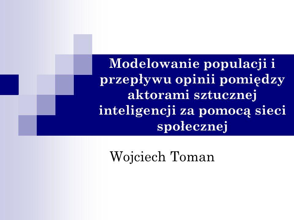 Modelowanie populacji i przepływu opinii pomiędzy aktorami sztucznej inteligencji za pomocą sieci społecznej