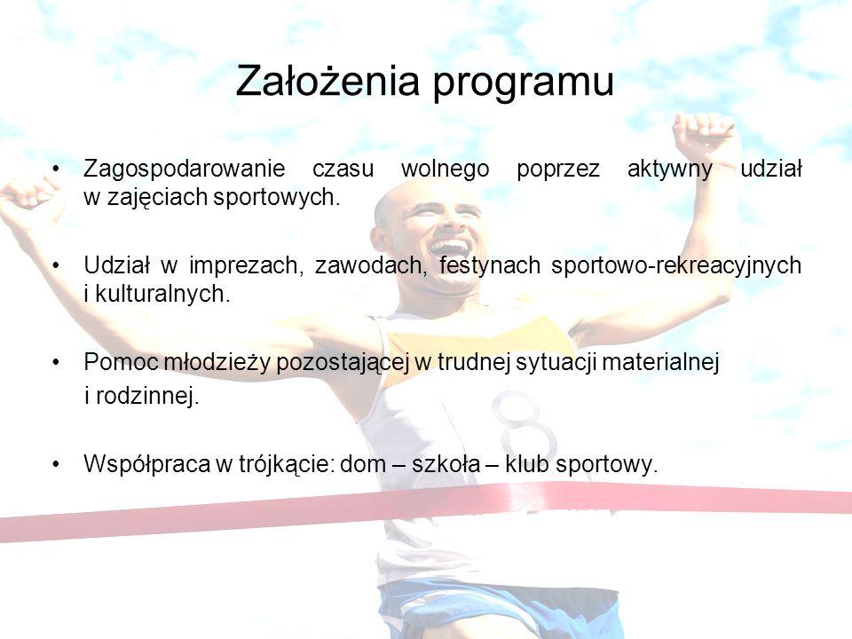 Założenia programu Zagospodarowanie czasu wolnego poprzez aktywny udział w zajęciach sportowych.