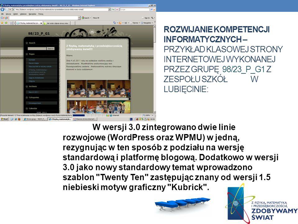 Rozwijanie kompetencji informatycznych – przykład klasowej strony internetowej wykonanej przez grupę 98/23_p_g1 z Zespołu Szkół w Lubięcinie: