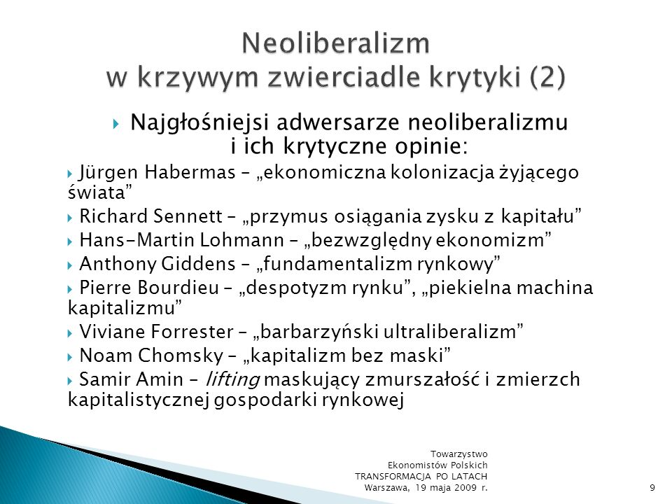 Neoliberalizm w krzywym zwierciadle krytyki (2)