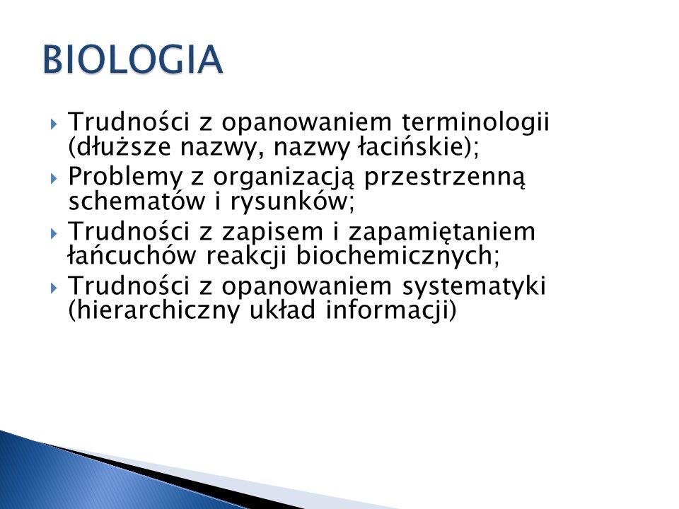 BIOLOGIATrudności z opanowaniem terminologii (dłuższe nazwy, nazwy łacińskie); Problemy z organizacją przestrzenną schematów i rysunków;