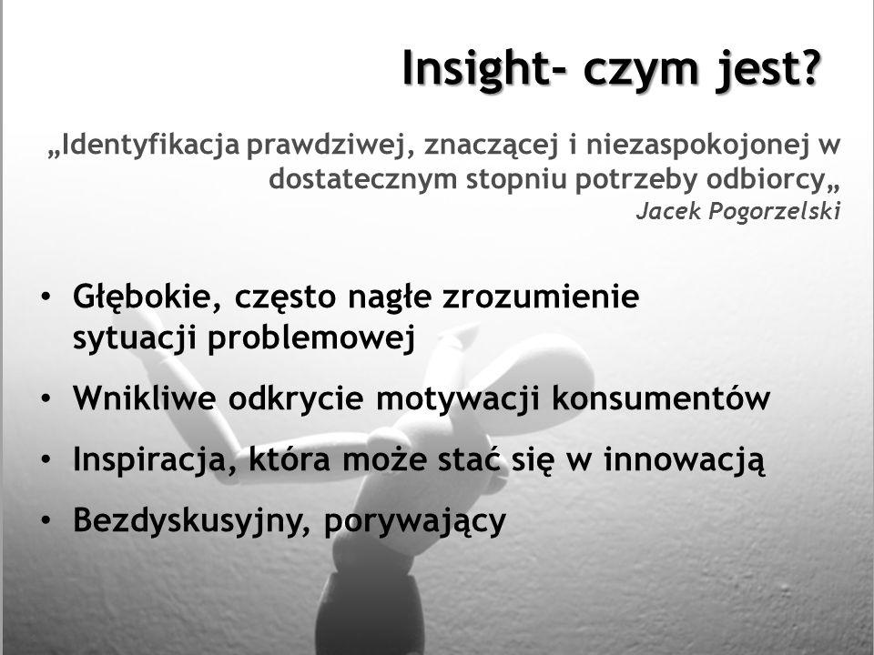 """Insight- czym jest """"Identyfikacja prawdziwej, znaczącej i niezaspokojonej w dostatecznym stopniu potrzeby odbiorcy"""" Jacek Pogorzelski."""