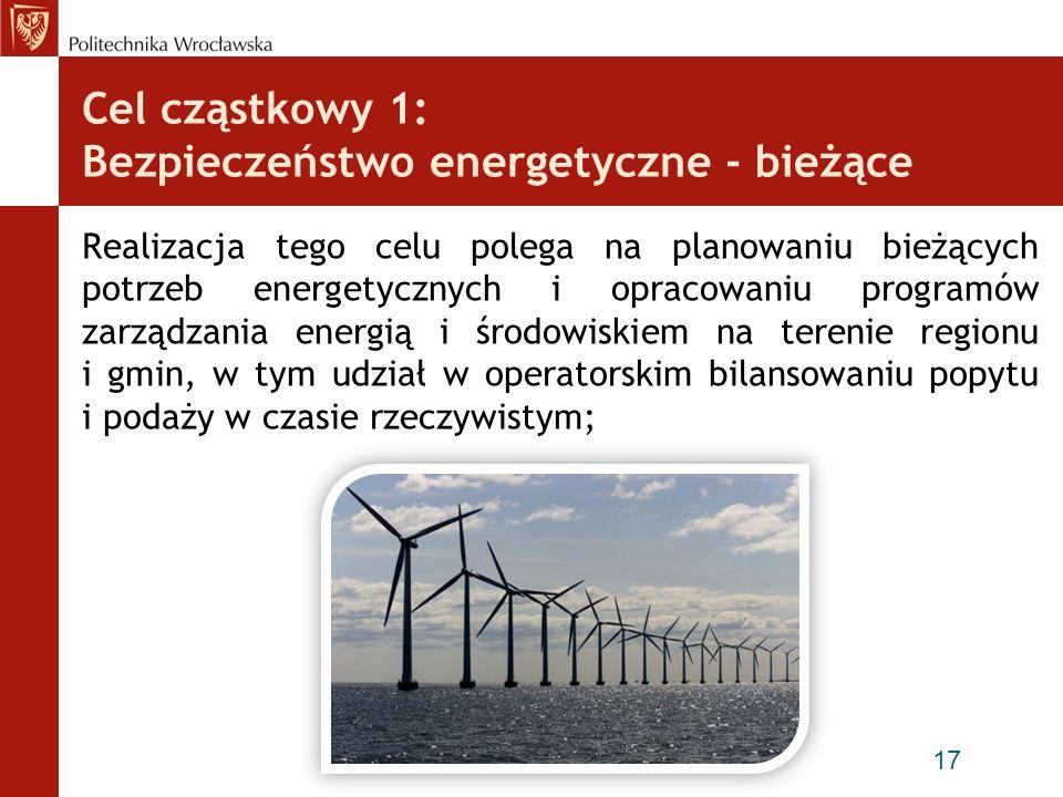 Cel cząstkowy 1: Bezpieczeństwo energetyczne - bieżące