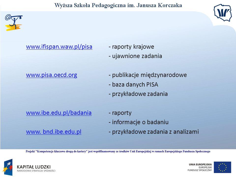 www.ifispan.waw.pl/pisa - raporty krajowe