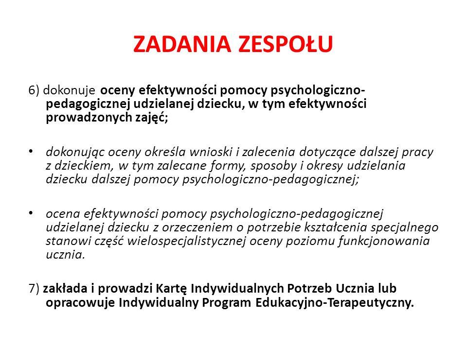 ZADANIA ZESPOŁU 6) dokonuje oceny efektywności pomocy psychologiczno-pedagogicznej udzielanej dziecku, w tym efektywności prowadzonych zajęć;