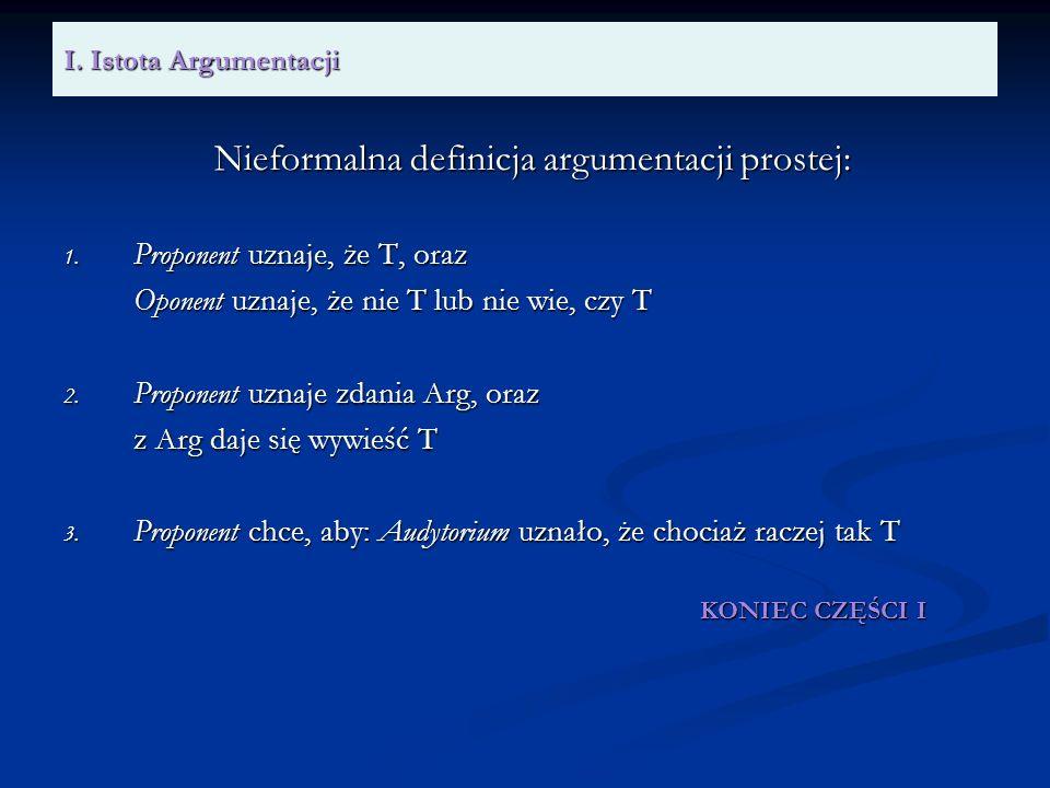 Nieformalna definicja argumentacji prostej: