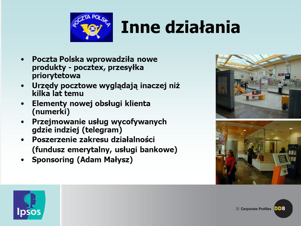 Inne działania Poczta Polska wprowadziła nowe produkty - pocztex, przesyłka priorytetowa. Urzędy pocztowe wyglądają inaczej niż kilka lat temu.
