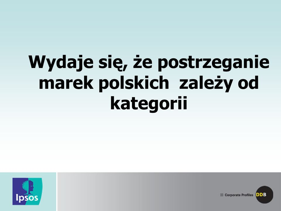 Wydaje się, że postrzeganie marek polskich zależy od kategorii