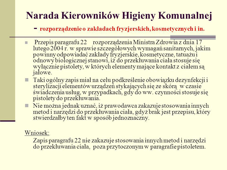 Narada Kierowników Higieny Komunalnej - rozporządzenie o zakładach fryzjerskich, kosmetycznych i in.