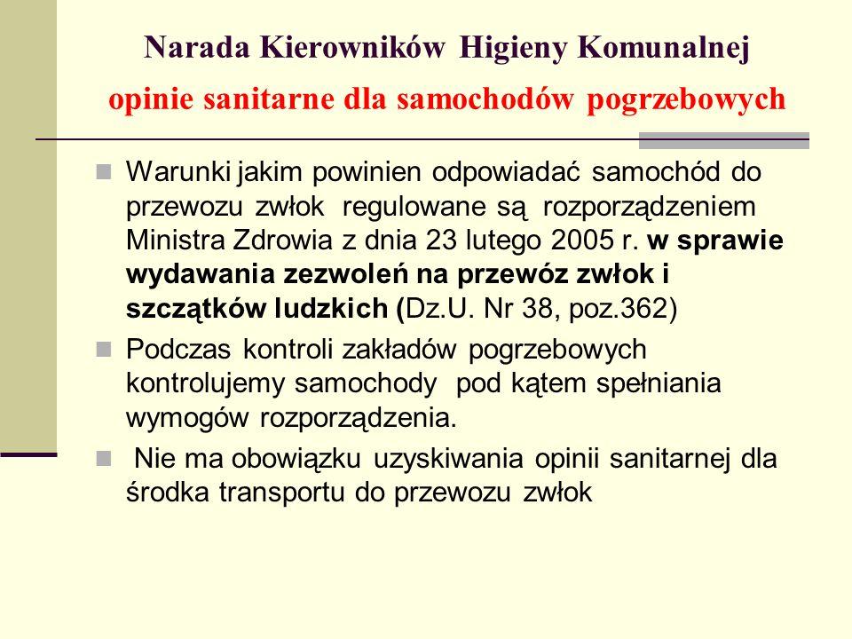 Narada Kierowników Higieny Komunalnej opinie sanitarne dla samochodów pogrzebowych