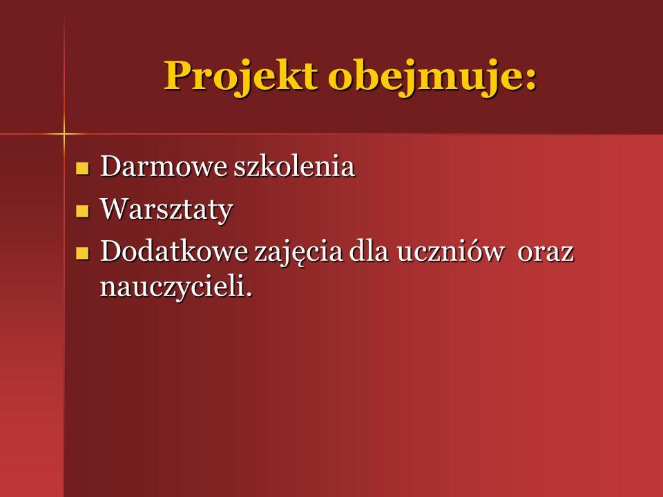 Projekt obejmuje: Darmowe szkolenia Warsztaty