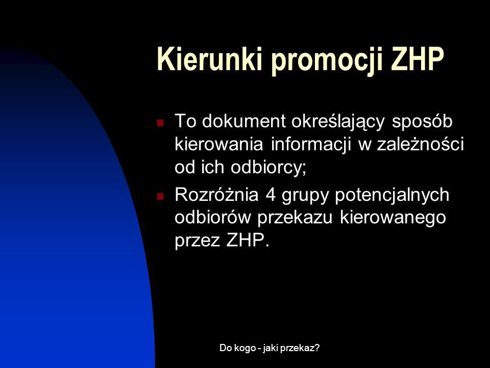 Kierunki promocji ZHP To dokument określający sposób kierowania informacji w zależności od ich odbiorcy;