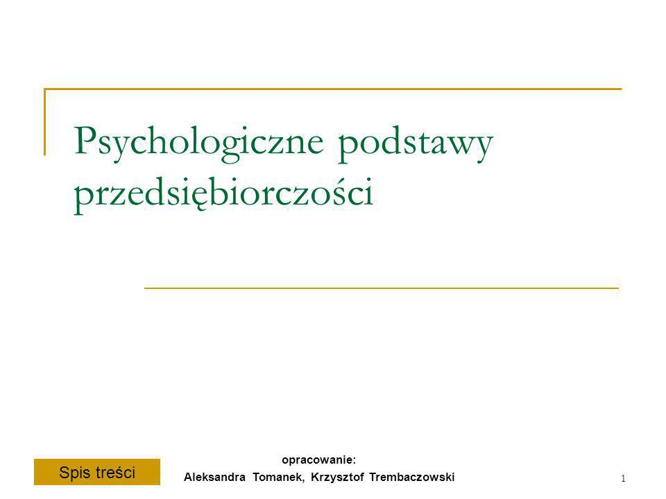 Psychologiczne podstawy przedsiębiorczości