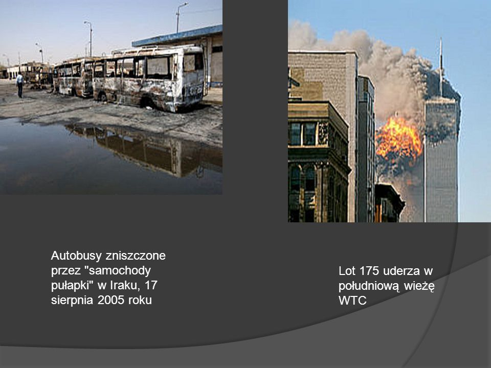Autobusy zniszczone przez samochody pułapki w Iraku, 17 sierpnia 2005 roku