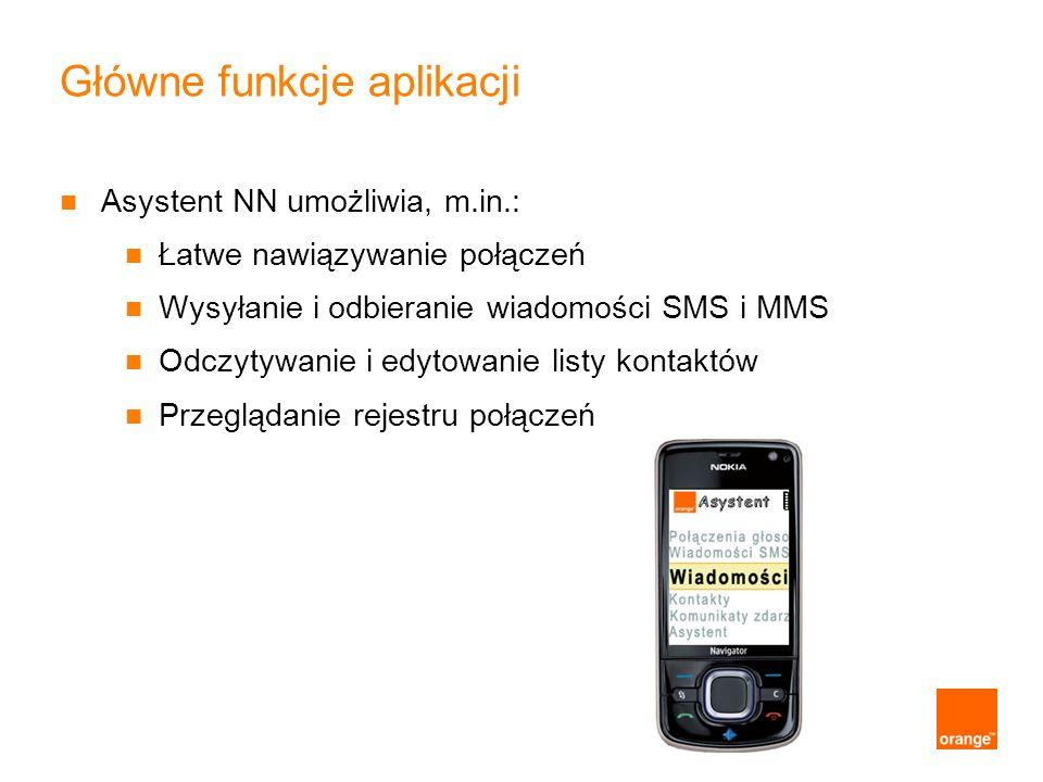 Główne funkcje aplikacji