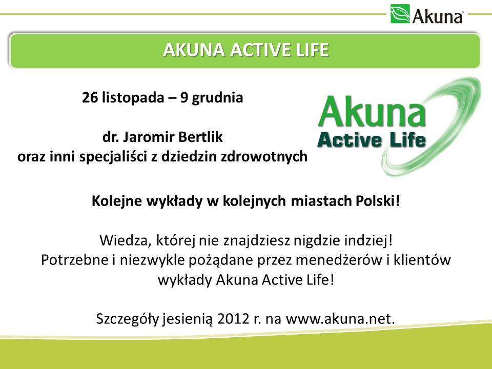 AKUNA ACTIVE LIFE 26 listopada – 9 grudnia dr. Jaromir Bertlik