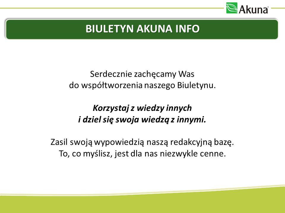 Biuletyn Akuna InfoSerdecznie zachęcamy Was do współtworzenia naszego Biuletynu. Korzystaj z wiedzy innych i dziel się swoja wiedzą z innymi.
