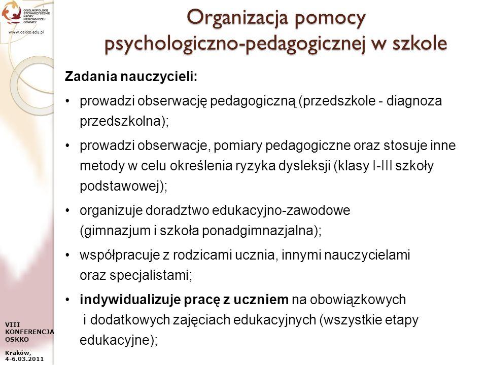 Organizacja pomocy psychologiczno-pedagogicznej w szkole