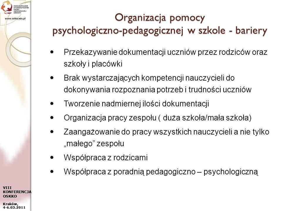 Organizacja pomocy psychologiczno-pedagogicznej w szkole - bariery
