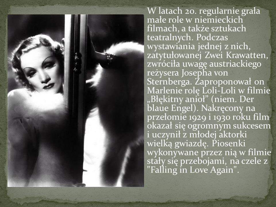 W latach 20. regularnie grała małe role w niemieckich filmach, a także sztukach teatralnych.