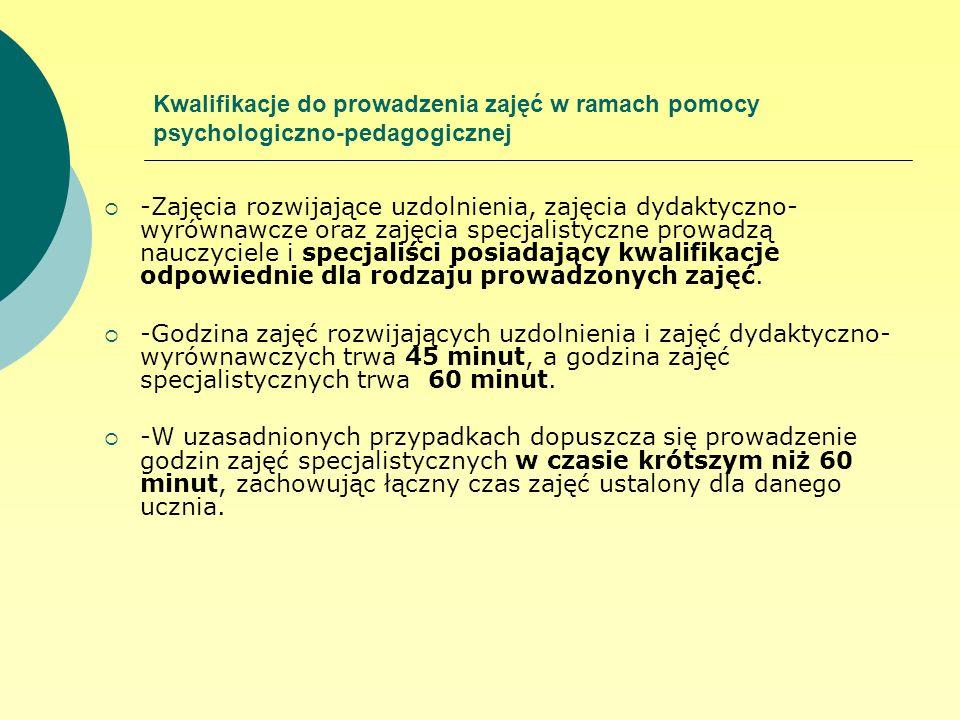 Kwalifikacje do prowadzenia zajęć w ramach pomocy psychologiczno-pedagogicznej