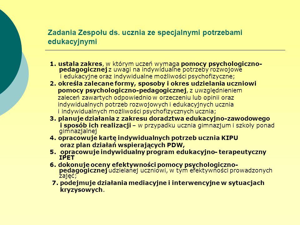 Zadania Zespołu ds. ucznia ze specjalnymi potrzebami edukacyjnymi