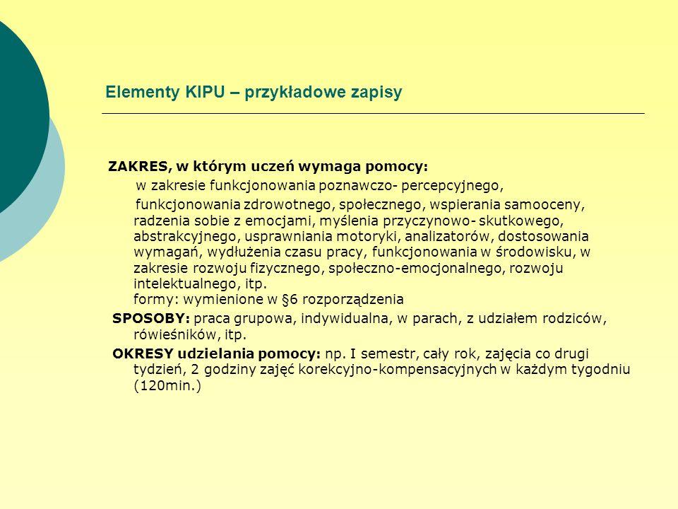 Elementy KIPU – przykładowe zapisy